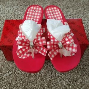 NIB Red and white Guess flip flops